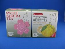 Japanese YUZU CITRON GREEN TEA and SWEET SAKURA TEA each 2g 10bags