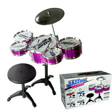 5pcs Kids Drum Set Jazz Drums Rock Musical Instrument Educational Toy Gift New