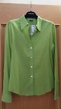 NEW WOMEN'S THEORY LONG SLEEVE SHIRT/BLOUSE SIZE M COLOR BRIGHTGREEN 100% COTTON