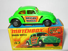 "Matchbox superfast no 43 dragon wheels ""briquet vert"" - menthe/boxed mib"