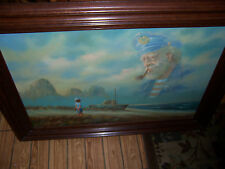 ORIGINAL OIL PAINTING SEA CAPTAIN SIGNED BY FAMOUS BEN HARRIS BOATS FISHING NICE