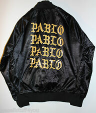 The Life of Pablo PopUp Shop Satin Bomber Black Gold Jacket Size XL X-Large New