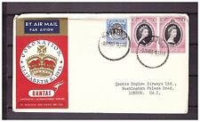 s16143) Singapore 2.6.1953 AM Cover QEII Coronation Singapore London