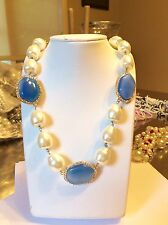 Joan Boyce Faux Pearl/Blue And White Crystal 17-21 Inch Necklace