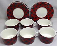Set of 6 Tartan Plaid Christmas China Arita Sasaki Charles Roberts Cups Saucers