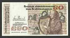 50 Pounds Irish Ireland Series B Banknote 74-B 05.11.91 HLD 075977 AU