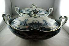 2 Antique Royal Staffordshire Iris China Oval Covered Veg Serving Bowls w/ Lids