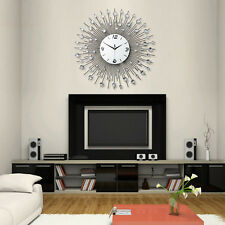 Fashion Crystal Jeweled Beaded Sunburst Wall Clock  ROUND  Wire Room Decor new