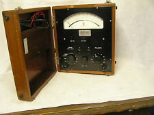 1950 /60s Volt / Amp Meter in Original Wood Box EIL Model 44