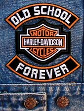 "OLD SCHOOL 4"" ROCKER SET W/ HARLEY DAVIDSON MOTORCYCLE BIKER CENTER PATCH"