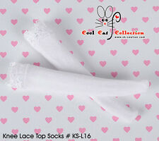 ☆╮Cool Cat╭☆【KS-L16】Blythe/Pullip Knee Lace Top Doll Socks # White