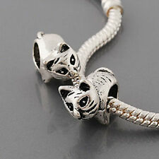 European Style antique silver Metal CAT BEAD  Buy15 get a FREE BRACELET!