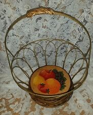 Unique Wire Wicker and Metal Basket with Handle and Fruit Painted on Wood