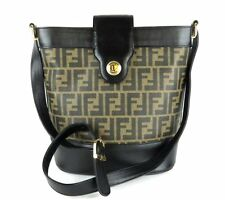 100% Auth FENDI Zucca Canvas Leather Brown Black Shoulder Bag Made in Italy