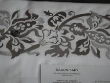 Sferra Saxon White Grey Full  Queen Flat Sheet Egyptian Cotton New