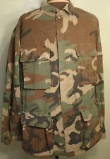 Carbon Mills Coat Hot Weather Woodland Camouflage Combat Pattern Mens Small Long