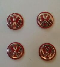 Four vw key fob badge logo stickers, red and chrome. 14mm in size.