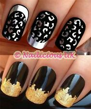 NAIL ART SET 431 SILVER LEOPARD PRINT WATER TRANSFERS/DECAL/STICKERS & GOLD LEAF