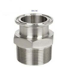 SANITARY 2″ × 2″ NPT MALE ADAPTER 304S/S CLAMP END DAIRY TRI CLOVER  SAN046