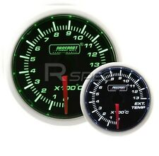 Prosport 52mm Super Smoked Green / White EGT Exhaust Gas Temperature gauge