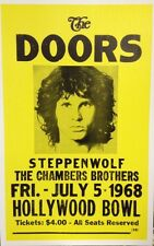 """The Doors Concert Poster - 1968 - Hollywood Bowl - w/ Steppenwolf - 14""""x22"""""""