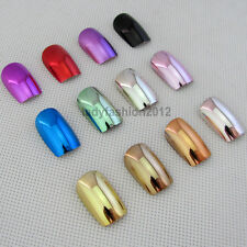 12 Metallic Color Metal Plating False French Acrylic Nail Tips With Nail Glue