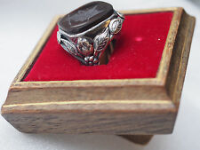 Antique Carnelian Intaglio Roman Soldier Repousse Silver Signet Ring~Easel Stand