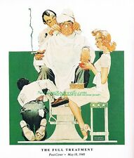 "Norman Rockwell print ""THE FULL TREATMENT"" Barber Shop Spa Beauty Salon manicure"