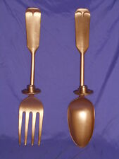 VTG HOMCO HOME INTERIOR GOLD SINGLE ARM WALL HANGING METAL SPOON & FORK SCONCES