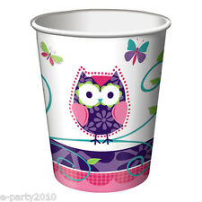 PATCHWORK OWL 9oz PAPER CUPS (8) ~ 1st Birthday Party Supplies Beverage Drinking