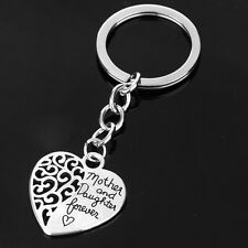 ED12 Heart Cutout Engraved Mother & Daughter Forever Silver Charm Key Ring