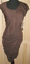 M60 Miss Sixty Brown Ruched Ruffled Stretch Jersey Bodycon Dress, 6R - MSRP $128