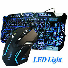 Sistema combinado de Juegos Teclado Y Mouse con cable LED Illuminated Backlight USB Paquete