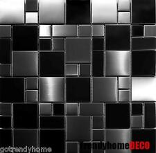 SAMPLE- Unique Black Stainless Steel Pattern Mosaic Tile Kitchen Backsplash Bath