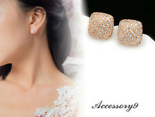 trends Micro pave Cubic Zircon 925 silver stud square rose gold earring girl A20