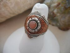 Carolyn Pollack Relios Southwest Sterling Silver Copper Pink Stone Ring  390214