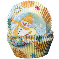 Blue with Snowmen and Stars Cupcake Cases Xmas Christmas Baking Muffin
