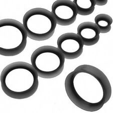 "1 Pair Black Thin Silicone Ear Skin 7/16"" Tunnels Plugs 11mm Gauges Piercings"