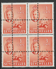 Seychelles 2144 - 1952 KG6 TORTOISE block of 4  DOUBLE PERFS pair unmounted mint