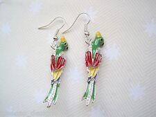 *3D ENAMEL PARROT BIRD* Green Red SP Earrings Rockabilly Cute Gift Bag Parakeet