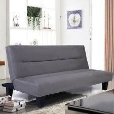 "Microfiber Futon Folding Couch Sofa Bed 6"" Mattress Sleep Recliner Lounger Gray"