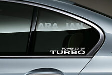 POWERED BY TURBO Vinyl Decal sticker sport racing car skirt window logo WHITE