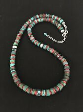 Native American Sterling Silver  Turquoise Coral    Bead Necklace
