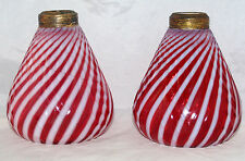 ANTIQUE PAIR OF CRANBERRY OPALESCENT GLASS EAPG SWIRL OIL LAMP MOLDED FEATHER