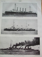 Antica Stampa 1926 nave H.M.S DRAKE ITALIANO PIEMONTE francese Jules Michelet FOTO
