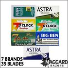 35 Double Edge Safety Razor Blades Sample Pack, Astra Derby Gillette 7 brands