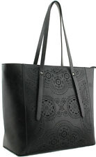 Black Shopper Ladies Women's Fashion Handbag Celebrity Bag Designer Look Stylish