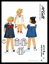 Girl's SAILOR Dress Frock Nautical Sewing Pattern 1940's McCall #4318 Costume ~2