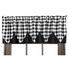 New Country Farmhouse Cafe BLACK & WHITE BUFFALO CHECK Curtain Window Valance