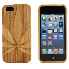 Genuine Bamboo Wood Marijuana Pot Leaf Hard Case Cover For Apple iPhone 6 4.7
